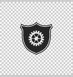 shield with gear icon on transparent background vector image
