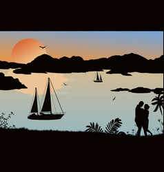 silhouette a couple and ships at sea on vector image