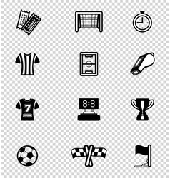 soccer icon set on checkered vector image