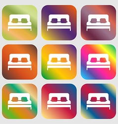 Sofa Icon sign Nine buttons with bright gradients vector image