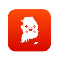 South korea map with flag icon digital red vector
