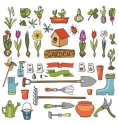 Spring garden doodlesColored flowersbulbsplants vector