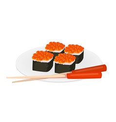 Sushi rolls and chopsticks asian food vector