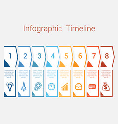 Timeline infographic for eight position vector