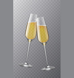 two champagne glasses christmas toast symbol vector image