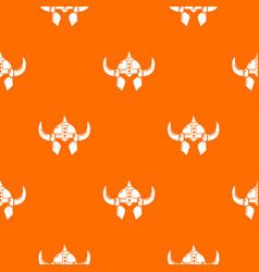 Viking helmet knight pattern orange vector