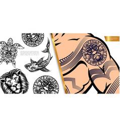 Vintage tattoo symbols concept vector