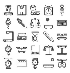 Weigh scales icons set outline style vector