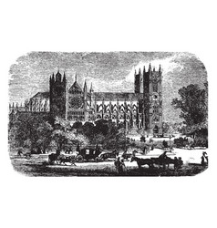 Westminster abbey architecture vintage engraving vector