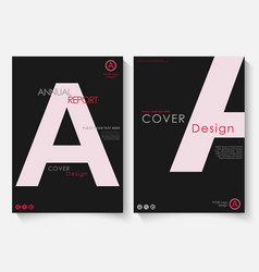 White letter annual report cover design template vector