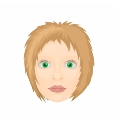 Woman face icon in cartoon style vector image