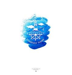 Yacht club logo Watercolor vector