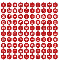 100 auto repair icons hexagon red vector