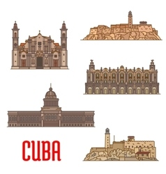 Landmarks and sightseeings of Cuba vector image vector image
