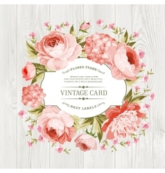 Pink peony label vector image