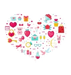 Valentines Day icon set in heart shape Template vector image vector image