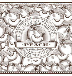 vintage peach label on seamless pattern vector image vector image