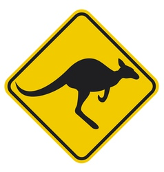 Kangaroo warning sign vector image
