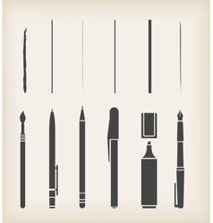 Pen pencil marker brush vector image vector image