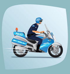 police officer or policeman riding on motorcycle vector image vector image