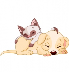 puppy and kitten vector image vector image