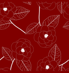 white camellia flower on red background vector image