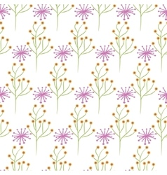 Wild flower spring pink and green field seamless vector image