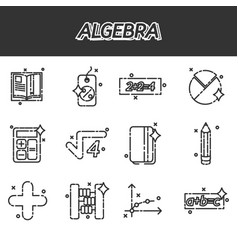 algebra icons set vector image