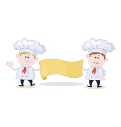 Cooks with poster vector image