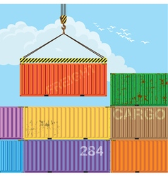 Crane lifting cargo containers vector image vector image
