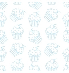 Cream cake seamless white pattern vector image