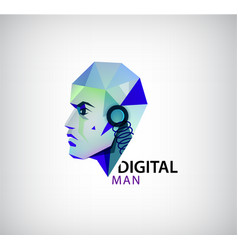 digital man robot logo icon isolated vector image vector image