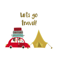 family road trip and camping concept car and tent vector image vector image