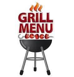 grill menu sign vector image vector image