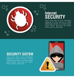 internet security system smartphone hacker warning vector image vector image