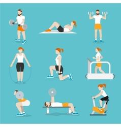 People gym exercises icons set vector image