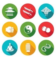 Wing Chun Icons Set vector image vector image