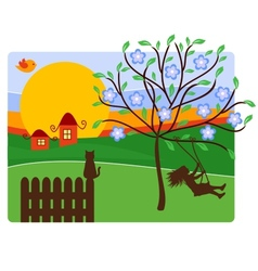 Childhood with Landscape vector image vector image