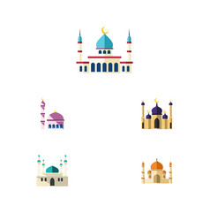 flat icon building set of islam building mosque vector image vector image