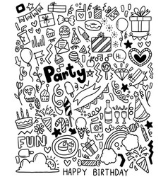 0082 hand drawn party doodle happy birthday vector