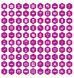 100 globe icons hexagon violet vector
