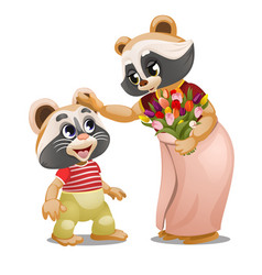 a little raccoon gave a bouquet tulips to his vector image