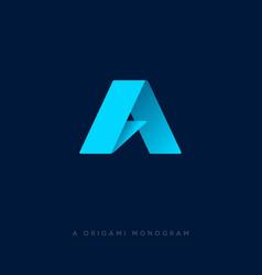 a origami logo a letter a monogram vector image