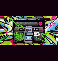 Abstract detailed retro ghetto blaster hip hop vector