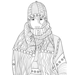 Adult coloring bookpage a girl wearing vector