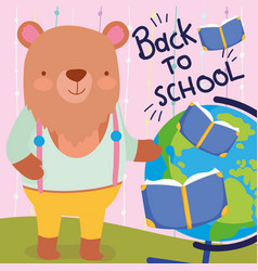 back to school cute bear teacher with books and vector image