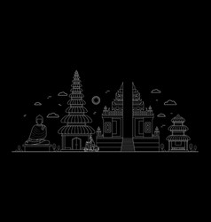 Bali thin line art vector