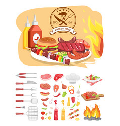bbq grill party time poster vector image