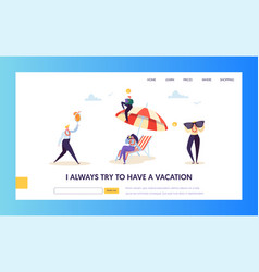 beach vacation for corporate business characters vector image