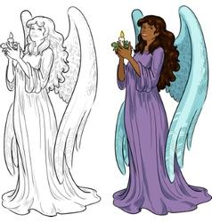 Beautiful african american female angel vector
